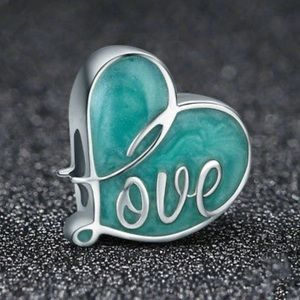 """Jewelry - """"Love"""" heart silver spacer charm"""
